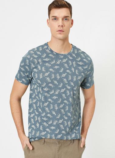 Koton Desenli T-Shirt Mavi